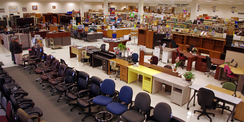 Wide Shot of the interior of JDM Office Outlet, Myerstown, PA